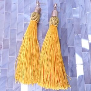 Yellow stud tassel earrings